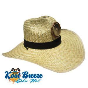 Kool Breeze Gentlemen's Natural Solar Straw Hat w/Band Solar Cooling Hat, Solar
