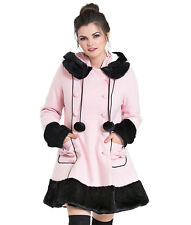 HELL BUNNY SARAH JANE winter HOODED faux fur BLACK PINK RED PURPLE COAT XS-4XL