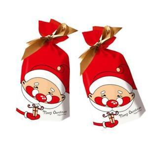 50Pcs Santa Claus Christmas Candy Treat Bags Gift Xmas Party Decor Bags