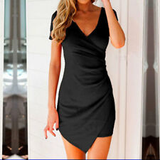 Summer Women Girls V Neck Short Sleeve Bodycon Wrap Evening Party Mini Dress