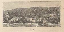 A0268 Meina - Stampa Antica del 1907 - Xilografia