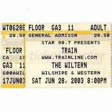 Train Concert Ticket Stub Los Angeles California 6/28/03 Wiltern Theatre Rare