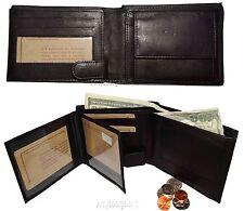 Lot of 2 Men's Leather Wallet Billfold Wallet Billfold 2 Flip side ID Coin case