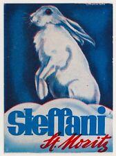 Hotel Steffani ST. MORITZ Bunny Hase * Old Swiss Luggage Label Kofferaufkleber