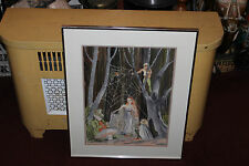 Original Water Color Painting Fairies Pixies Mushroom SpiderWebs-Signed NOERA-#2