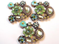 3 - 2 HOLE SLIDER BEADS GREEN & TURQUOISE ENAMEL FLOWERS HEARTS CABS RHINESTONES