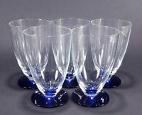 5 Vintage Weston 8 oz. Clear Depression Glass Blue Footed Tumblers