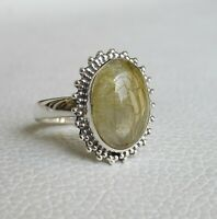 Golden Rutile Ring 925 Sterling Silver Ring Size 8 3/4 US Gemstone Ring R0206