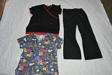 3 Piece Med - Lg 2 Scrub Tops Lady Tramp & Black S Pants Nurse Health Care Euc