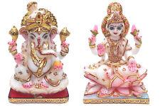 7'' Divine Ganesh Laxmi Marble Statue Murti Pooja Idols Wishes Decor MH031