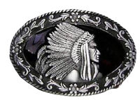 Silver and Pewter Indian Cherokee Apache Belt Buckle