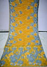 Vintage Multi Print Saree Crepe Silk Soft Craft Making Arts Dress Sari Fabric
