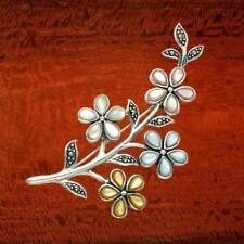 Sterling Silver Brooch Pin with Mixed Color Shell Flowers and Marcasite Leaves