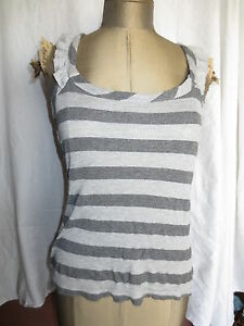 Anthropologie Threads grey wide stripe knit tank w ruffle racer back sz M shirt
