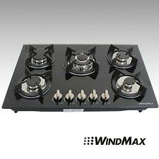 30inch Black Tempered Glass 5 Burners Built-in Cooktop Kitchen LPG NG Gas Hob