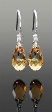 Tiny Light Brown Crystal Teardrop Earrings Swarovski Elements 925 Silver