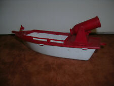 "6"" Red & White MPC? Boat with Spring loaded Cannon"