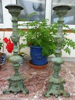 LARGE PAIR OF BRONZE PRICKET CANDLESTICKS 24 INCH FREE SHIPPING TO ENGLAND