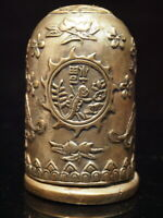 ANTIQUE  CHINESE TOOTHPICK HOLDER SILVER-PLATE CONTAINER