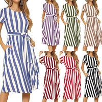 Women's Striped Short Sleeve Belt Tunic Midi Dress Summer Beach Holiday Sundress