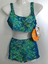 TanThru Bikini Durchbräunend Grün Panty Dschungel Tankini 38 B US 9/10 Solar Neu