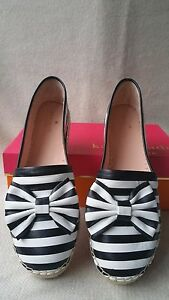 Kate Spade New York Linds Striped Bow Espadrilles Flats Black White 9.5 Leather