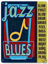JAZZ BLUES metal sign band music note bass night club  RETRO 229
