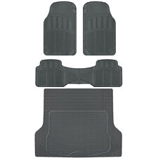 CarXS Proliners Custom Rubber Floor Mats Gray-4pc Heavy Duty Diamond Grid