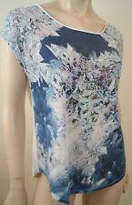 Claudie Pierlot Bleu Marine & Blanc Abstract Imprimé à manches courtes T-shirt homme Sz:3 L