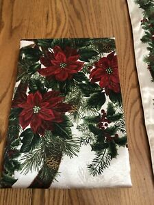 St. Nicholas Square Poinsettia Ribbon and Greenery Ivory Table Runner Tablecloth