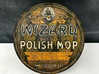 Vintage Wizard Polish Mop Tin Can Advertising Chicago