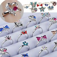 100/50pcs Wholesale Mix Crystal Children Silver Rings Kids Tail Ring Adjustable