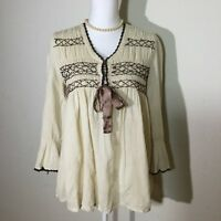 Sundance Womens Size Small V Neck Long Sleeves Paisley Top Blouse In Beige