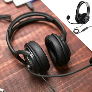 USB Headphones with Microphone Noise Cancelling Headset For Skype Laptop PC UK