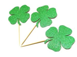 12 x Lucky four(4) Leaf Clover Cup Cake Topper / Irish Clover / St Patrick's Day