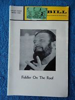 Fiddler On The Roof - Valley Forge Playbill w/Ticket - July 2nd, 1971 - Bikel