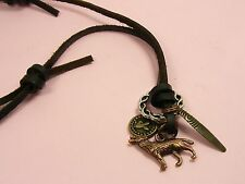 MEN Rusty BROWN Genuine LEATHER Adjustable Choker NECKLACE & Twilight WOLF Style