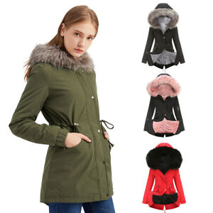 Ladies Coat Faux Fur Lining Women Warm Thick Long Jacket Hooded Overcoat