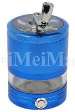 """2.5"""" CNC Aluminum 4 Piece LED Hand Crusher Herb Grinder Blue Color USA SELLER49"""