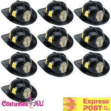 10 x Mens Fireman Helmet Firefighter Firehouse Costume Black Party Adult Cap Hat