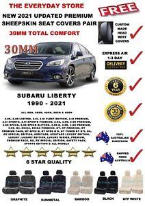 Premium Sheepskin Seat Covers For Subaru Liberty 1990-2021 Pair Airbag Safe 30MM