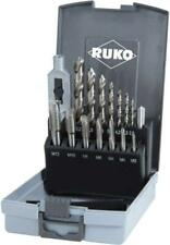 Ruko 15pc HSS M3 - M12 Hand Machine Tap and Holder and Tapping Drill Set Case