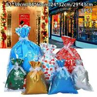 5X Christmas Candy Treat Bags Gift Wrapping Bag Xmas Party Drawstring Large Bags