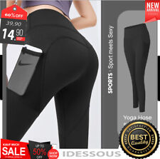 Damen PUSH UP Stretch Leggings mit Tasche Sport Hose Yoga GYM Jeggings schwarz