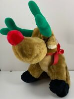 """Vintage Midwestern Home Products Reindeer Plush Christmas Holiday 14.5"""" Brown"""