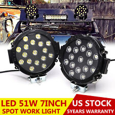 Offroad 7inch 51W Led Work Lights Spot Lamps Truck ATV Backup Driving Round Pair