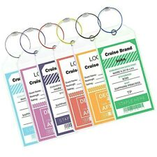 6X NEW *REUSABLE* Cruise Luggage Tag/eTag Holder *THICK PVC Zip Seal,Steel Loop