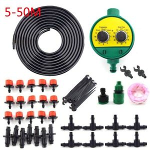 Automatic Drip Irrigation System Plant Timer Self Watering Garden Sprinklers Kit