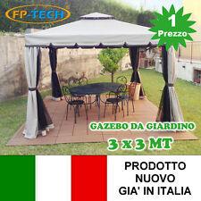 GAZEBO 3X3 GIARDINO IN ALLUMINIO TELO ANTIPIOGGIA PVC ZANZARIERA TELI ANTIVENTO