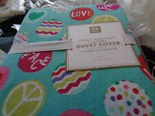 Pottery Barn Teen Peace Love twin Flannel  Duvet Holiday Christmas  New